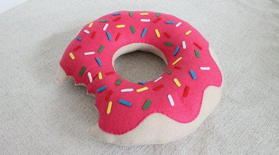 Cute Pink Doughnut Pillow Hand Sewn Fleece Felt Cute Pillow