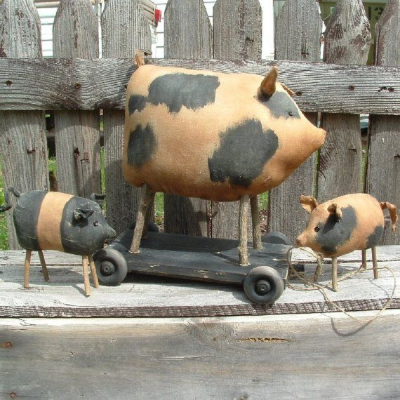 Pig and pull toy new PDF pattern HAFAIR ofg faap by lazydayzlucy