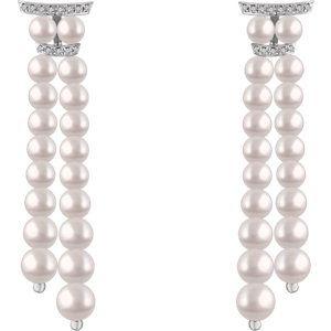 14K White Freshwater Cultured Pearl & .07 CTW Diamond Earrings