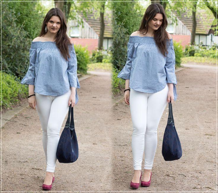 Off-Shoulder-Bluse, White Jeans und Longchamp Bag