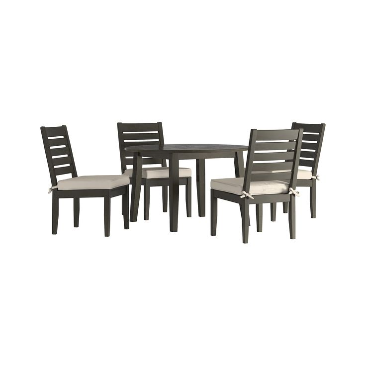 Parkview 5pc Round Wood Patio Dining Set w/ Cushions - Gray/Beige - Inspire Q