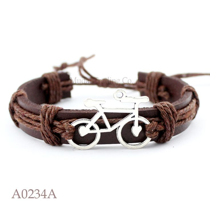 (10PCS/lot) ANTIQUE SILVER Bicycle Bike Charm Adjustable Leather Cuff Bracelet for Men & Women Punk Friendship Jewelry Gift