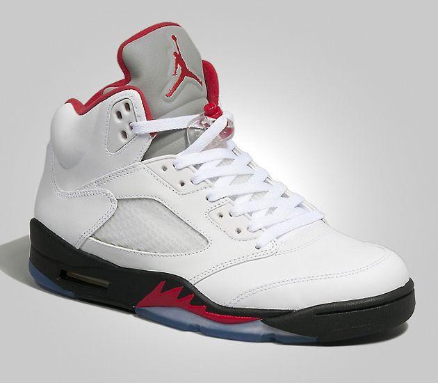 Air Jordan V Retro - White / Fire Red - Black