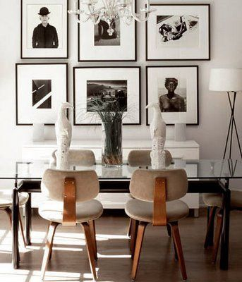 love the mix of black and brownDining Rooms, Photos Gallery, Chairs, Modern Dining Room, Interiors Design, Diningroom, Black White, Gallery Wall, Art Wall