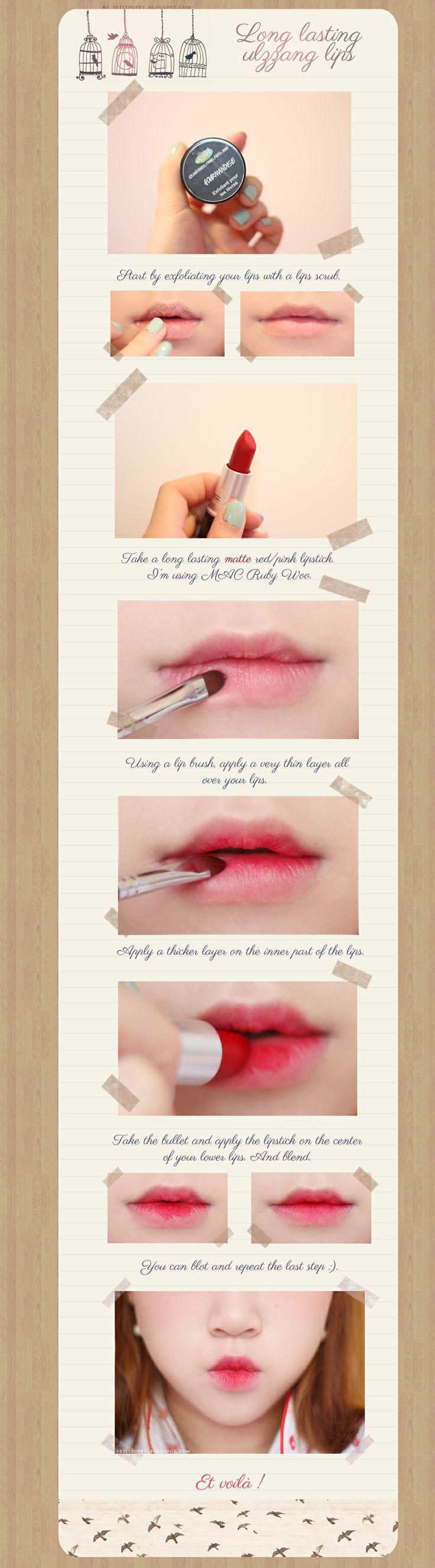 tutorial korean gradient lips ulzzang