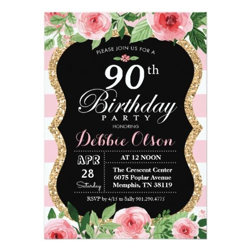 Watercolor Birthday Invitations 90th Birthday Pink Watercolor Invitation