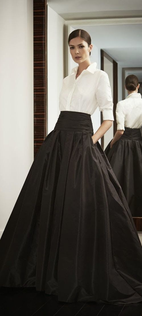 Carolina Herrera full black skirt + white blouse