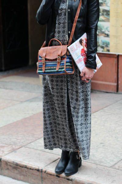 WWW.TAAMO.IT My look gypsy of today #coachella #gypsy #outfit #look #imperialfashion #leatherjacket #longdress #kingkong #cutoutboots #hm #elenaspagnoletto