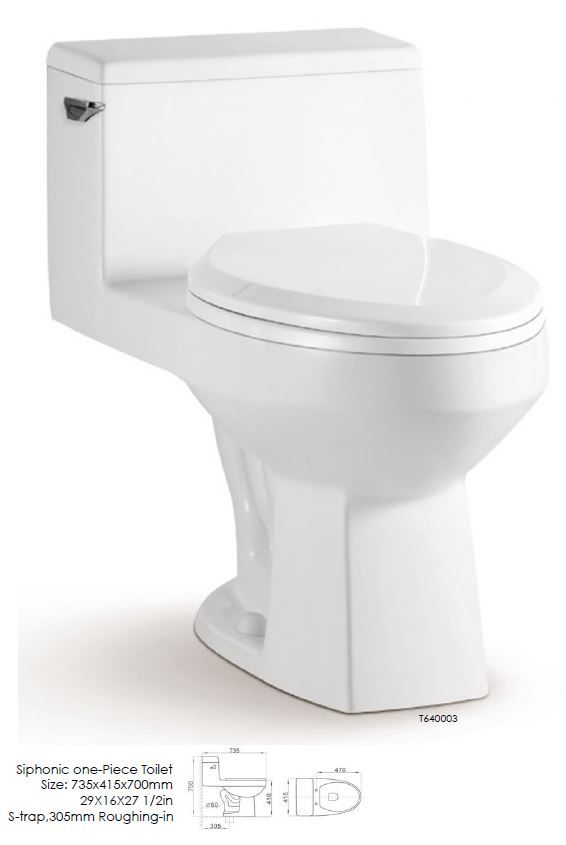 "Siphonic one-piece Toilet. Size 29 x 16 x 27 1/2"". S-trap. 305mm Roughing-in"