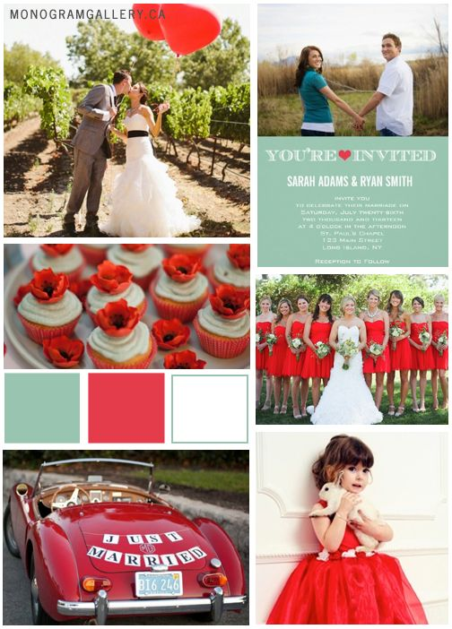 Poppy Red and Green Wedding Ideas  (add: custom chocolates. ONLY $7  www.customweddingprintables.com)