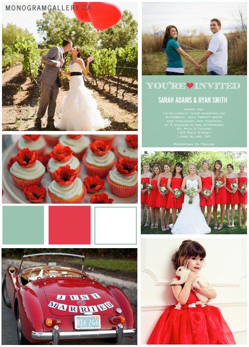 Poppy Red and Green Wedding Ideas  (add: custom chocolates. ONLY $7  www.customweddingprintables.com)