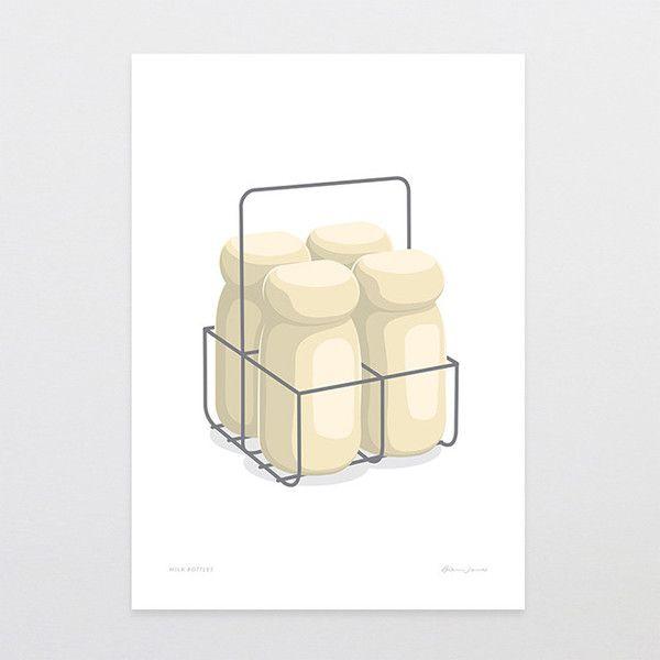 Milk Bottles - Art Print by Glenn Jones Art - art to make you smile. Available in a range of sizes. Click image to buy online. www.glennjonesart.com
