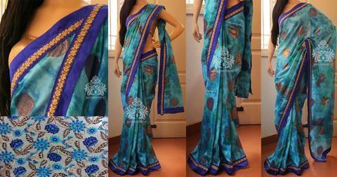 Light & dark blue tie and dye kota Saree