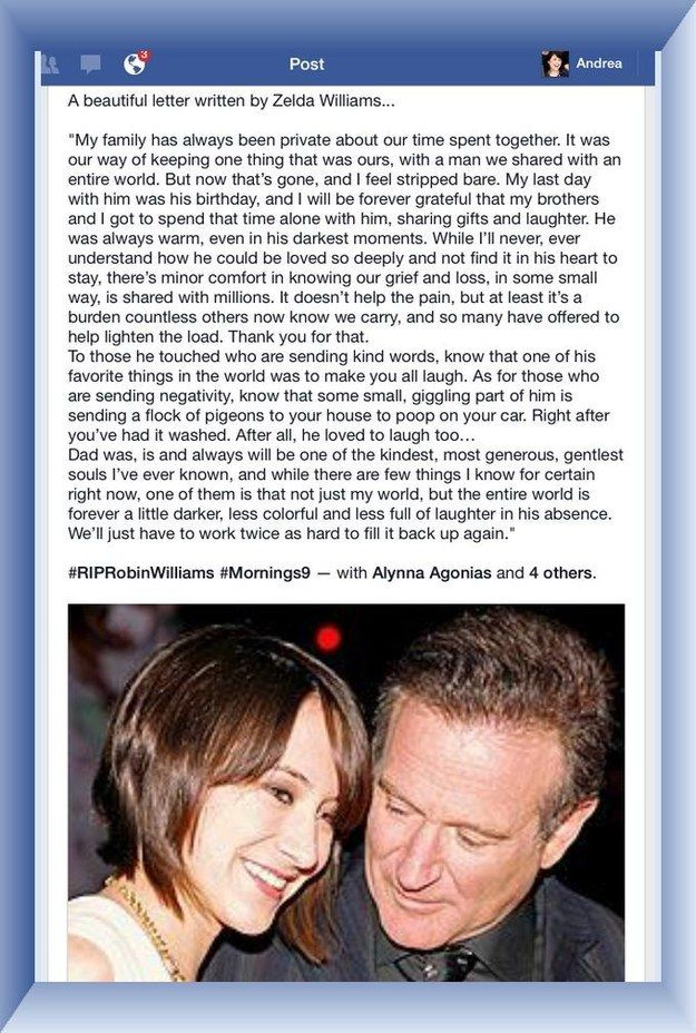 Robin's daughter Zelda's Tribute to her father. Very touching!