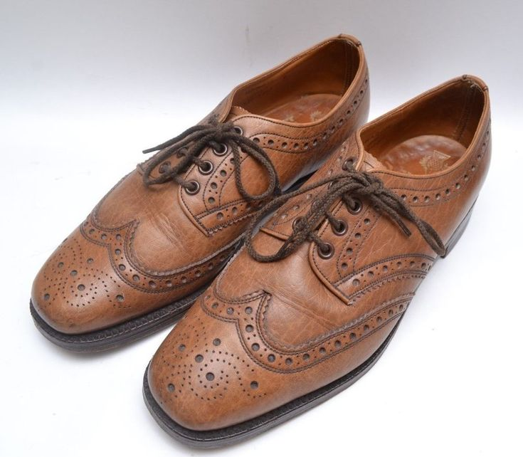 Dapper Mid Century Vintage Quality Tan Leather 70s Mens Brogues #Cheaney #Brogue #Everyday