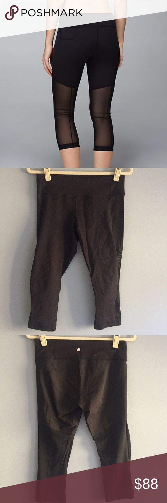Lululemon Breathe Easy Crop Black Size 8 Lululemon Breathe Easy Crop Black Size 8. Luon in the front, mesh and full on luxtreme in the back. Great for yoga, spin, gym, anything! Cellphone pocket at back left. Like New Condition! 🚫NO TRADES🚫 lululemon athletica Pants Track Pants & Joggers