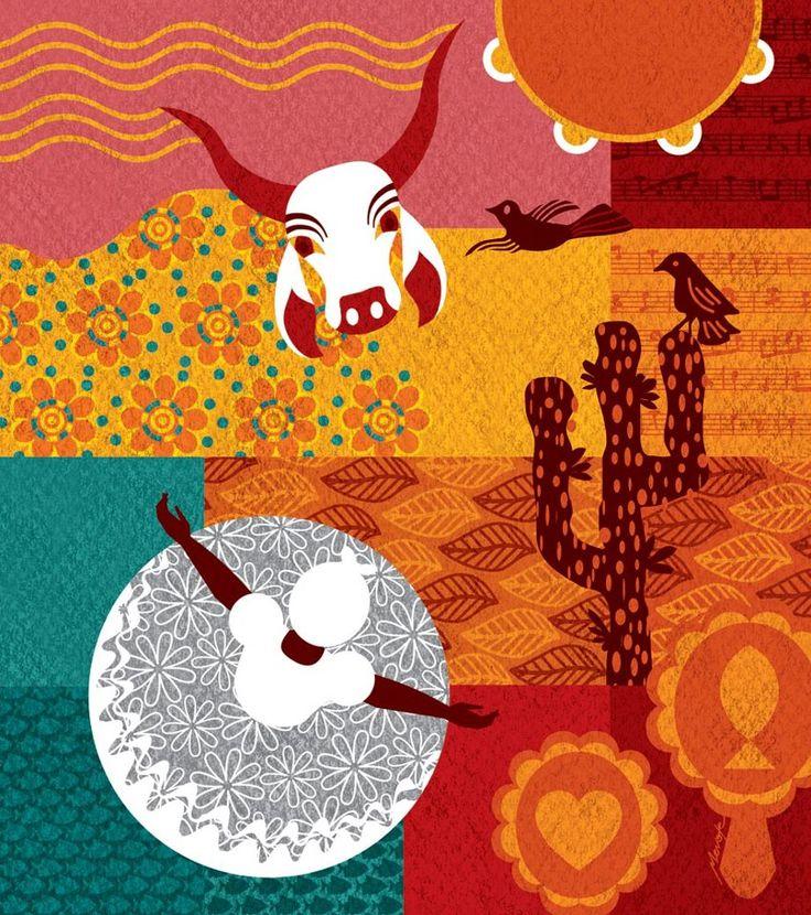 2- Referência de cores e estilo de ilustração. Cores alegres e vibrantes que lembram o nordeste