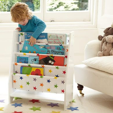 Sling Bookcase with Rainbow Star Canvas - Bookcases & Bookshelves - Storage - gltc.co.uk