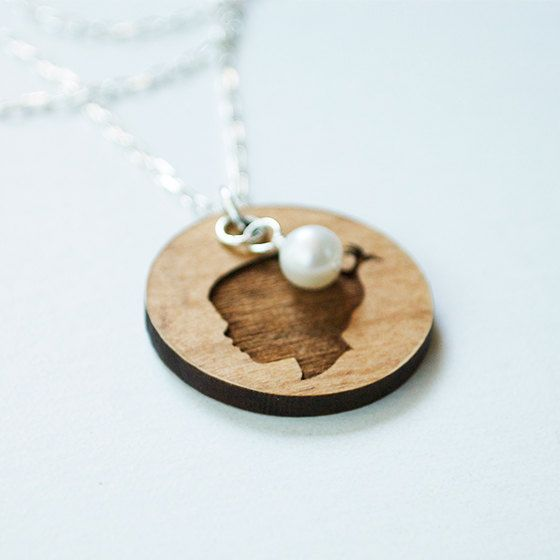 Laser Engraved Wood Charm Necklace  Personalized by LePapierStudio, $49.00