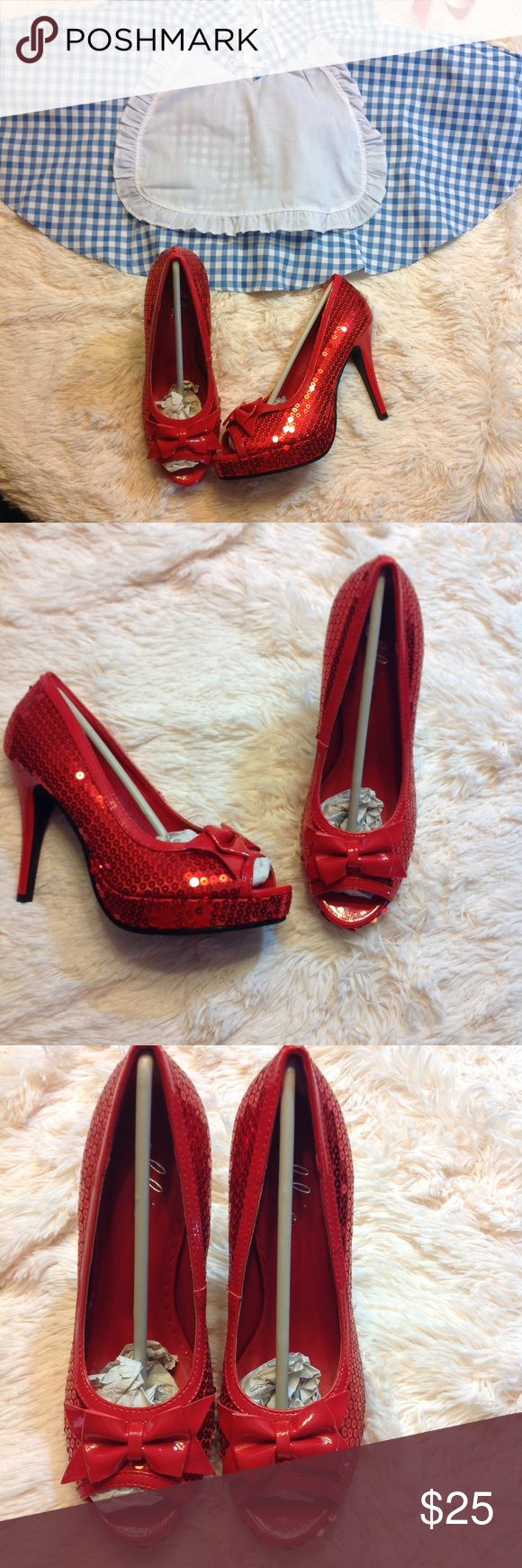 "Red Sequin Peep Toe Pumps Bows Halloween Heels 7 New in box Ellie Halloween Costume heels. Perfect match for Dorothy Wizard of Oz, Betty Boop, Jessica Rabbitt, and more.  Sequins and bow peep toe pumps.  These have 4"" heel and a 1"" platform  Ellie Shoes Shoes Heels"