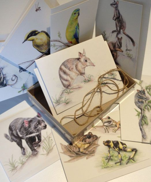This is an Endangered Species card set created by Joanne Pearcy wildlife artist from the eastern suburbs in Melbourne. Included in the 8 piece set is an Eastern-barred Bandicoot, Helmeted Honeyeater, Tasmanian Devil, Mountain Pygmy Possum, Leadbeater's possum, Endangered frogs, Orange-bellied parrot and a Brush-tailed Rock Wallaby.  | www.zoo.org.au