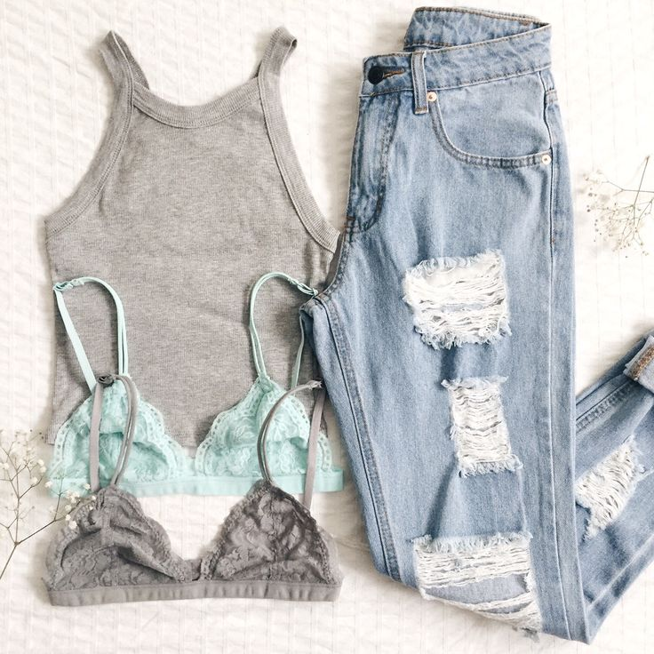 Brooklyn Tank Top, Zara Bralettes in Grey and Aqua #bralette #rippeddenim #frankiephoenix