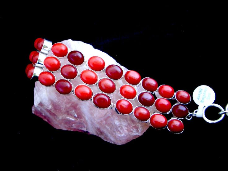 2 Styles: 925 Sterling Silver Gorgeous Red Onyx Two Tones Statement Bracelets. by Ameogem on Etsy