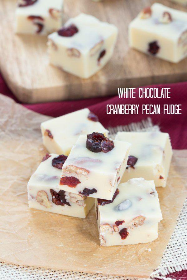White Chocolate Cranberry Pecan Fudge