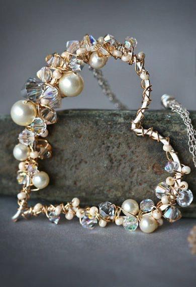 @heart_allheart: パール&クリスタルで飾られたハートジュエリー ネックレス
