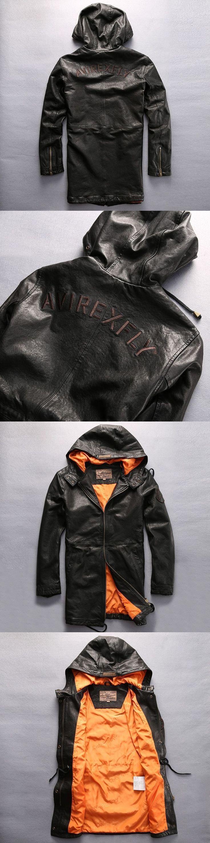NEW ! 2017 New men's Avirex fly hooded leather jacket men green sheepskin flight jacket black casual pilot jacket autumn windbre