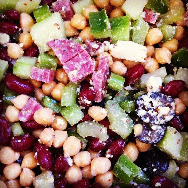 bright side dweller: I made food: Garbanzo bean Greek salad (salami ...