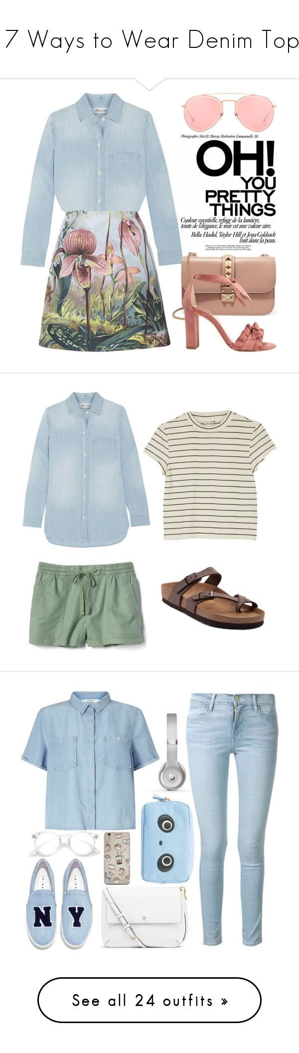 """""""17 Ways to Wear Denim Tops"""" by polyvore-editorial ❤ liked on Polyvore featuring waystowear, denimtops, Madewell, ADAM, Valentino, Alexandre Birman, Dita, tfp, Monki and Gap"""
