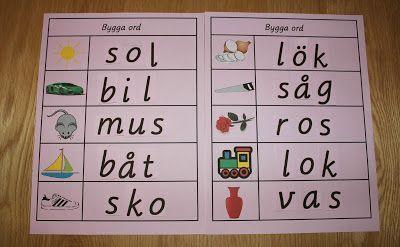Bygga ljudenliga ord med 3 bokstäver