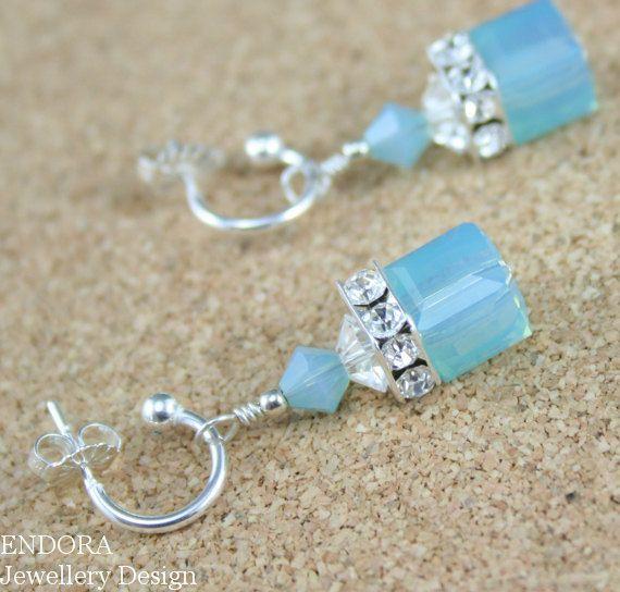 Blue mint opal crystal earrings, Aqua mint Swarovski crystal earrings #EndoraJewellery, $28.00