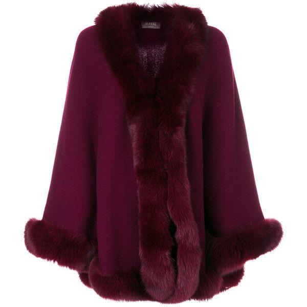N.Peal fur trimmed cape ($2,216) ❤ liked on Polyvore featuring outerwear, red, fur-trimmed capes, fur trimmed cape coat, cape coat, purple cape and red cape coat
