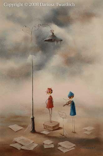 """www.galeriatwardocha.pl  """"Zagubiona latarnia, która niczego już nie oświetla i grajkowie wędrowni , których nikt nie słucha.... ...i tylko ci, którzy po bezdrożach wędrują, mogą ich czasem spotkać...""""  """"Lost lantern that illuminates anything longer and itinerant musicians, whom no one listens .... ... And only those who wander in the wilderness, they may sometimes encounter ... """""""