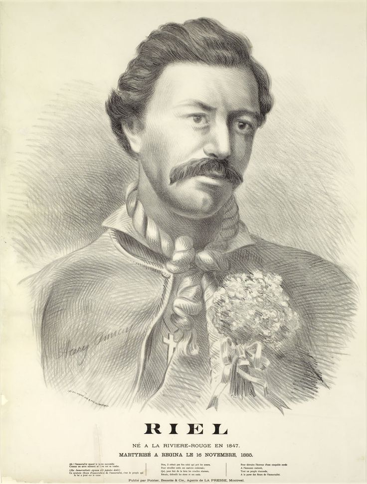 Louis Riel, Métis leader, founder of Manitoba, central figure in the Red River and North-West resistances (born 22 October 1844 in Saint-Boniface, Red River Settlement; died 16 November 1885 in Regina, SK).