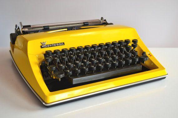 Vintage RETRO 1970s Yellow Triumph Adler by TypewritersHeaven