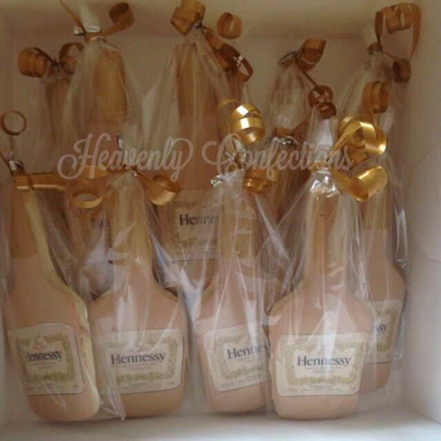 Hennessy bottle shaped sugar cookies with edible image label.