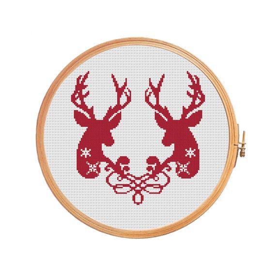 Cross stitch patterns Deer Deers together от PatternsCrossStitch