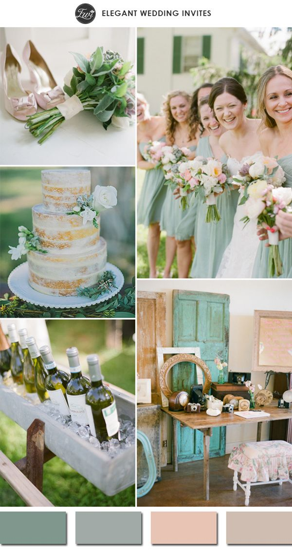 nude colors and sage green neutral wedding ideas for outdoor venue 2015