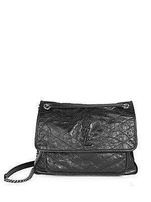 25eefee87b91 Saint Laurent Large Niki Chain Crinkle Leather Shoulder Bag