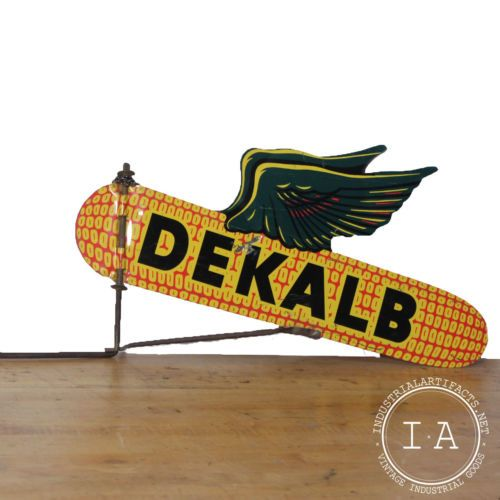 Vintage-Industrial-Tin-DeKalb-Seed-Weather-Vane-Advertising-Sign
