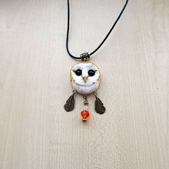 Barn-owl pendant, women's jewelry, men jewelry, animal jewelry, handmade owl, owl totem, owl pendant necklace, gift for her, barn owl totem