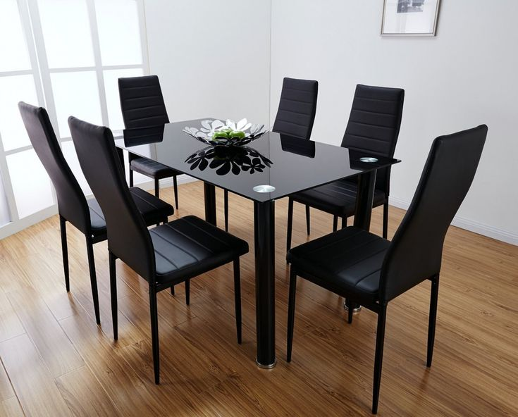 70 black glass dining table and 4 chairs rustic modern furniture check more at - Dining Table Black Glass