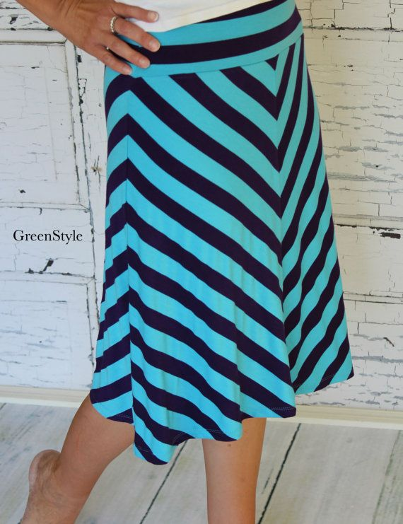 turquoise and purple chevron a line knit skirt from