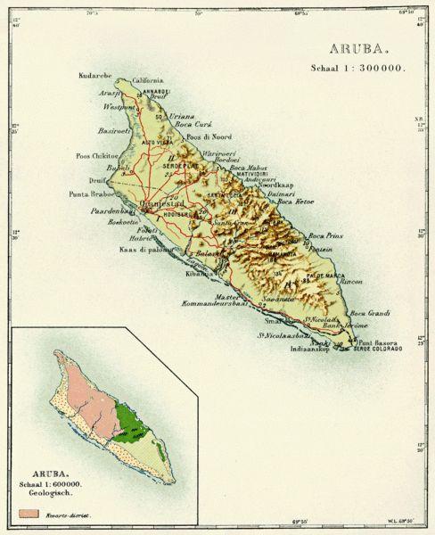 Map of Aruba from the Encyclopaedie van Nederlandsch West-Indië 1914-1917.