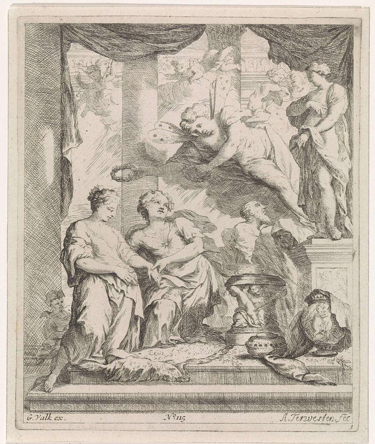 Augustinus Terwesten (I) | Man en vrouw voor een altaar door de liefde gekroond, Augustinus Terwesten (I), Gerard Valck, 1659 - 1711 | Een paar wordt in een tempel met het beeld van Venus, de godin van de liefde, gelauwerd door een gevleugelde figuur. Mogelijk de bruiloft van Amor en Psyche. Rechtsonder genummerd: 1, en midden onder: No. 115.
