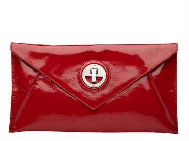 Molten Envelope Clutch in Scarlet