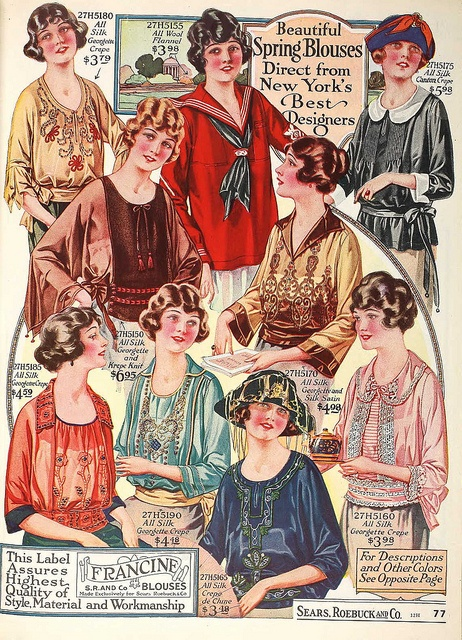 Don't you just love the diverse array of details on this pretty 1920s blouses?